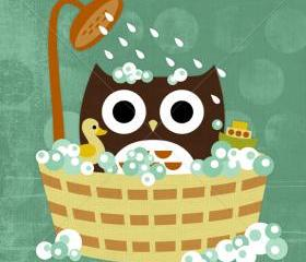 46R Retro Owl in Bathtub 6 x 6 Print