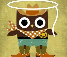 47R Retro Cowboy Owl 6 x 6 Print