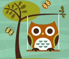 48R Retro Owl on Swing 6 x 6 Print