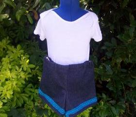 Girls denim blue sparkly shorts