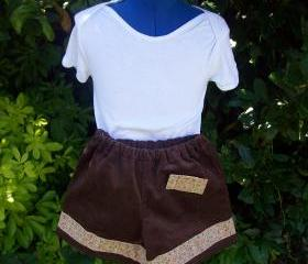 Girls brown corduroy shorts