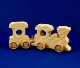 Train Birthday Party Favors - Package of 5 Wood Toy 2 Car Train Sets - Great for Toddler and Kids Parties