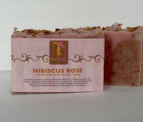 Hibiscus Rose Shea Butter Soap with Cocoa Butter and Rose Petals and Geranium Essential oils