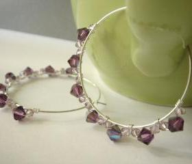 Amethyst Rock Candy Hoops