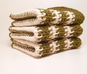 Washcloth 100% Cotton in Olive Green and White