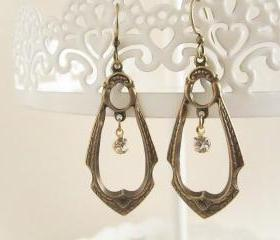 Brass Art Nouveau Dangle Hoop Rhinestone Earrings, Antique Brass Boho Earrings, Chandelier Filigree, Vintage Swarovski Rhinestone, Antique