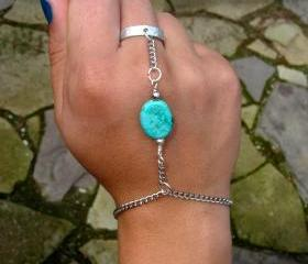 Silver and Turquoise Slave Bracelet, Chains and Adjustable ring