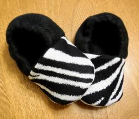 Toddler Size - Zebra Print Fleece Baby Booties with Non-Slip Soles
