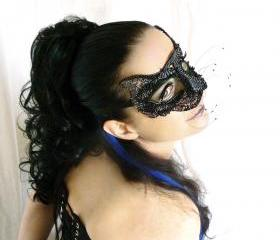 Black cat beaded masquerade mask