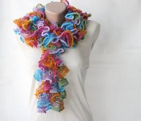 Knit frilly scarf rainbow colors