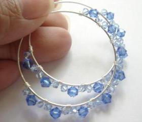 Something Blue Swarovski Crystal Sapphire Sterling Silver Wire Wrapped Earrings