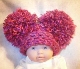 Fuschia Pink chunky newborn pom pom hat 