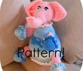 Crochet pattern, Elephant amigurumi toy - Crochet tutorial PDF