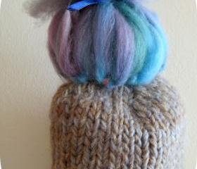 .Baby Trol Hat, blue and gray colors, soft yarn