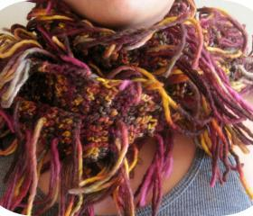 Handmade knitted scarf, multicolor, with multi strands, cozy, warm
