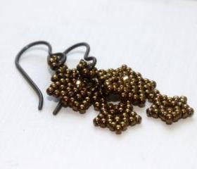 Bronze Star Beaded Earrings