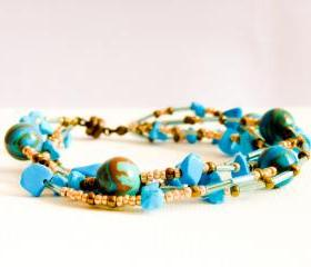 Boho chic chunky multi layered wrap bracelet. December birthstone Turquoise Jewelry. mother day