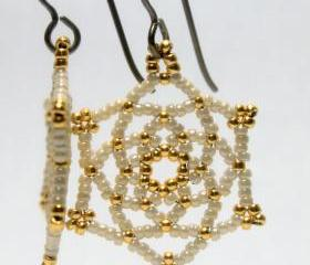 Bridal Bridesmaids Earrings Beaded Ivory Gold