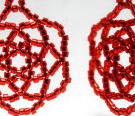 Red Rose Mandala Star Handwoven Beaded Earrings