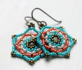 Beaded Southwest Earrings Handwoven Mandala Star