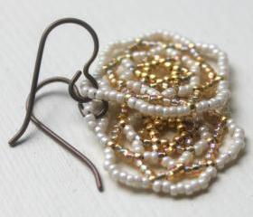 Bridal Earrings Wedding Jewelry Handwoven Beaded Gold Ivory