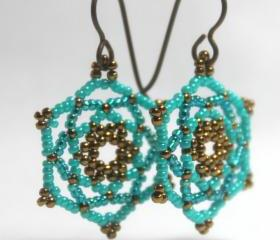 Mandala Star Beaded Earrings in Turquoise Teal Bronze