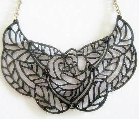 Mix Metals Bib Necklace - Antique Bronze and Black Necklace
