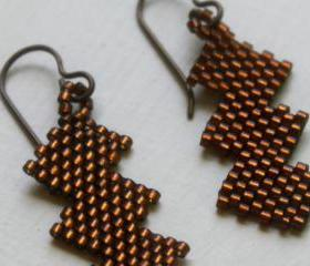 Copper Beaded Earrings Zig Zag 