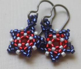 Red White & Blue Patriotic Stars Beaded Earrings