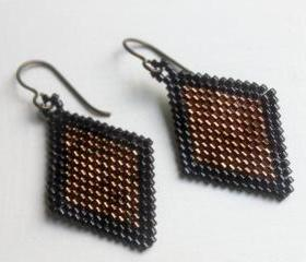 Copper and Black Beaded Diamond Shaped Earrings