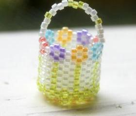 Miniature Beaded Basket Handwoven Flower Garden