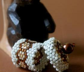 Miniature Basket or Box with Lid Handwoven Beaded Honeycomb Brown Gold Cream