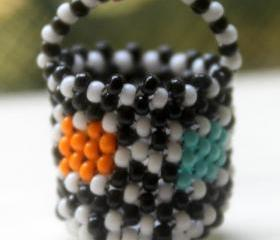 Miniature Beaded Basket Black & White with Color Blocks