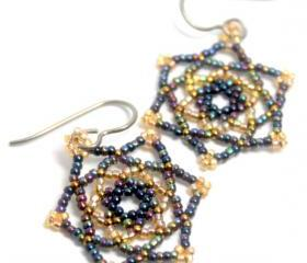 Handwoven Beaded Mandala Star Circle Earrings
