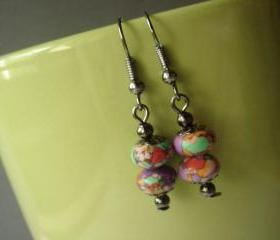 Stacked Colorful Howlite Gunmetal Earrings