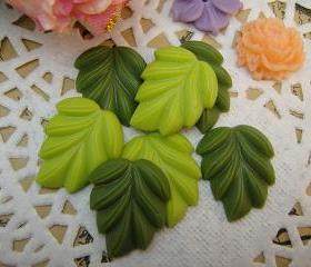  4pcs Resin Green Leaf for Jewelry18x21mm BW-SZ-203