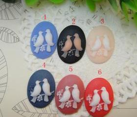 4pcs Resin Cabochons Lover Bird Vintage 18x25mm BW-SZ-163