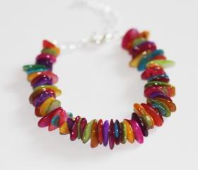 Bright multi coloured mother of pearl bracelet