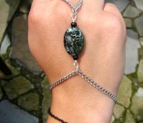 Slave Bracelet with Camouflage Jasper Stone Silver and Black Chain ring and bracelet