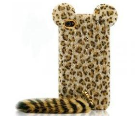 Cute Leopard Furry Case with Panther Tail for iPhone 4/4s