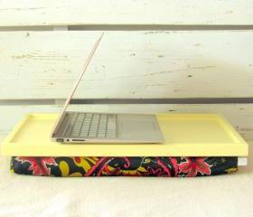  Laptop Lap Desk or Breakfast serving Tray - Soft Pastel Yellow with Flowers- Custom Order