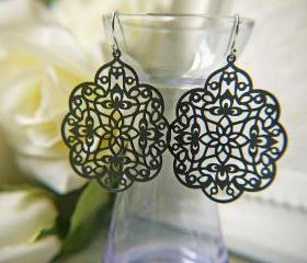 Matte Black Lacy Earrings. Mysterious And Elegant