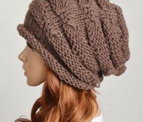 Slouchy woman handmade knitting hat clothing cap --brown
