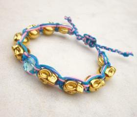 Skulls friendship bracelet gold skulls bracelet neon cord