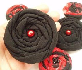 Black-Red Handmade Appliques Embellishments(5 pcs)