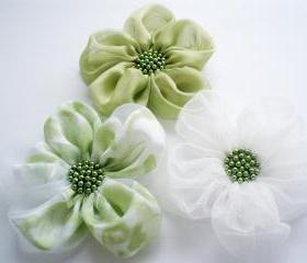 Lime-White Chiffon Flowers Handmade Appliques Embellishments(3 pcs)