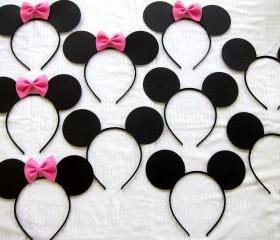 10 count half Mickey Mouse ears and half Minnie mouse ear headbands LOT pink or red