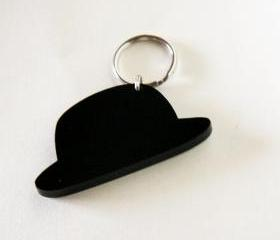 bowler hat keychain - for him - unisex gentlemen elegant gift