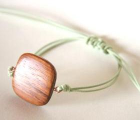 for him - rustic bracelet wooden andl light green waxed cotton - men and unisex bracelet