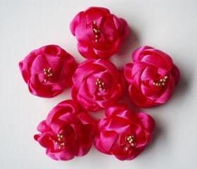 Handmade Fushia Ribbon Flower Appliques Embellishments(6pcs)